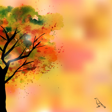 water animal bird card  poster: An abstract vector and watercolor drawing of a green and yellow tree in fall, freehand drawing, on a blurred autumnal background, with a little bird and a place for text
