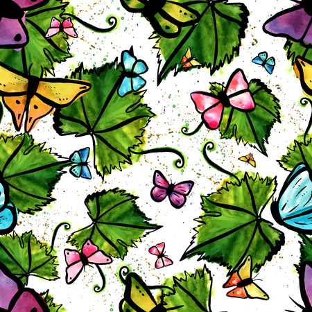 vine leaf: A seamless background pattern with a freehand vector and watercolour drawing of a green vine leaf with a tendril, with butterflies. Hand painted on white background