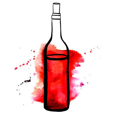Ein Vektor und Aquarell Zeichnung einer Flasche Rotwein mit Spritzern von Farbe, auf weißem Hintergrund