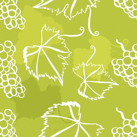 tendrils: Vector seamless background pattern with freehand drawings of vine leaves, tendrils, and bunches of grapes
