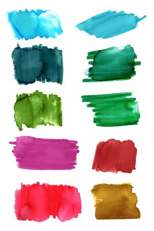 headings: A set of watercolor or water soluble marker brush strokes in teal, green, red, purple, and golden. Abstract vector background textures, on white