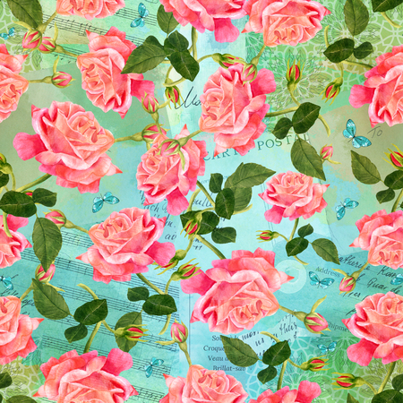 ephemera: Seamless pattern with watercolor red rose, with buds and green leaves, with teal blue butterflies, in the style of vintage botanical art, on the background of old ephemera: sheet music, post card, etc