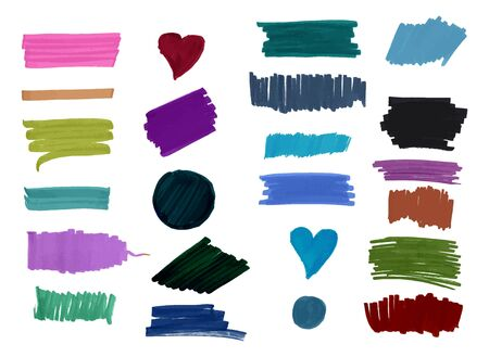 A set of watercolor or water soluble marker brush strokes in various colors and shapes. Abstract vector background textures, on white Illustration