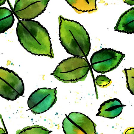 A seamless pattern with vector freehand watercolour drawings of green leaves, hand painted on white background. The concept of nature. A set of decorative design elements