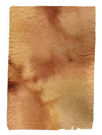 parchment paper: Vector piece of old brown parchment paper, toned with watercolors, with rough edges, isolated on white Illustration