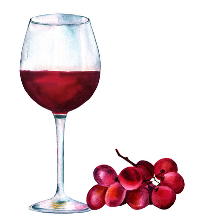 A vibrant watercolor drawing of a glass of red wine with a bunch of grapes, hand painted from side view on white background. A decoration for a restaurant menu or a tasting invitation 写真素材