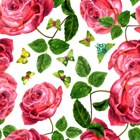 victorian wallpaper: A seamless pattern with vintage style red roses and green butterflies on a white background. Victorian garden wallpaper print design