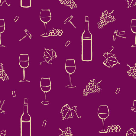 vine leaf: Seamless vector pattern with freehand drawings of wine glasses, grapes, bottle, corkscrew, cork, and vine leaf with tendril, light yellow on purple background