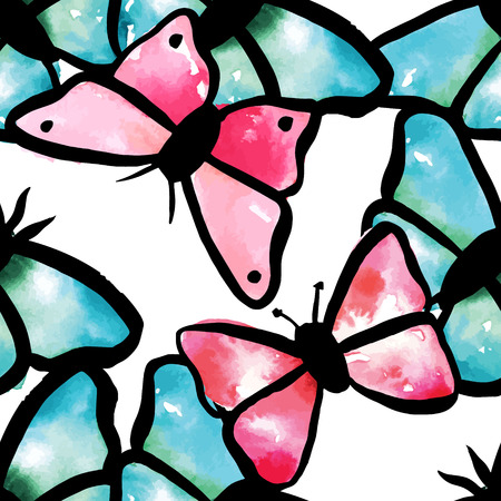 A seamless background pattern with abstract freehand water colour butterflies, teal blue and pink