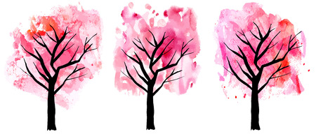 original single: A set of abstract and watercolor drawings of pink blooming trees in spring, freehand illustrations on white background Illustration