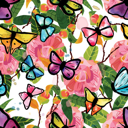 dusty: Seamless pattern with tender pink camellia flowers with green leaves, watercolor butterflies and splashes of paint, on white background. Illustration