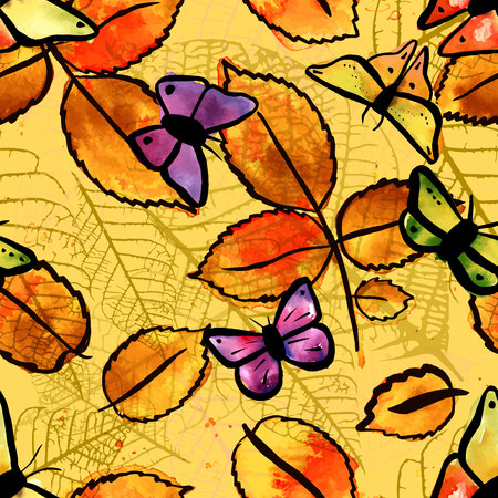 autumn colour: A seamless pattern with freehand water colour drawings of golden yellow leaves and purple butterflies. The concept of a happy autumn