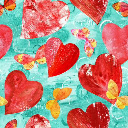 Seamless background pattern with print stamped mixed media red hearts and pink and golden watercolor butterflies, on teal Stock Photo