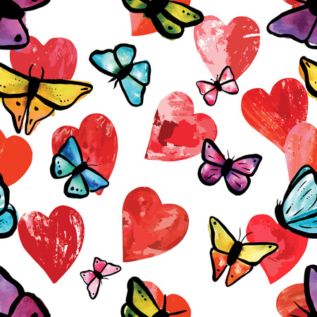 seamless background pattern with print stamped mixed media red hearts and teal blue, purple, and yellow watercolor butterflies, on white
