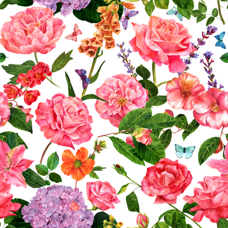 A vintage style seamless botanical pattern with hand drawn watercolor flowers - roses, camellias, and others - and butterflies, on white background