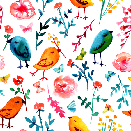 quirky: A seamless background pattern with quirky watercolor birds, butterflies, and abstract florals, hand painted on white background