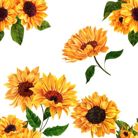 白い背景の手描き鮮やかな黄色水彩のヒマワリとシームレスなパターンは、ビンテージ スタイル花印刷を繰り返し