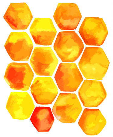 Abstract hand drawn background texture with yellow and orange cells for copyspace. Scalable freehand template
