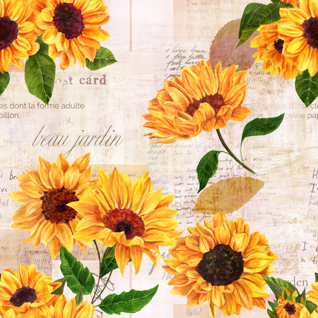 A seamless pattern with hand drawn vibrant yellow watercolor sunflowers on the background of old letters, postcards, and newspaper scraps mockups, vintage style floral repeat print Stockfoto