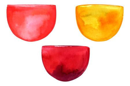 chardonnay: Abstract watercolor stains resembling in shape rose, white and red wine glasses, hand painted on white background