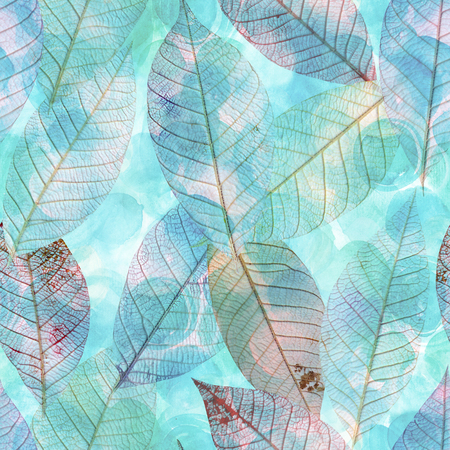 A seamless watercolor background pattern with teal blue skeleton leaves, faded and toned Stockfoto