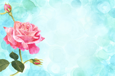 rose: A vintage style watercolor drawing of a tender pink rose branch on a teal blue background with copyspace. Stock Photo