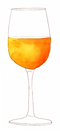 A glass of white wine on white background, freehand ink and watercolour drawing Stock Photo