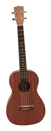 A photo of a brown ukulele, isolated on the white background