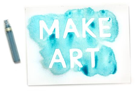 mister: Make Art, written with the use of a stencil and blue paint, and the mister, on white background