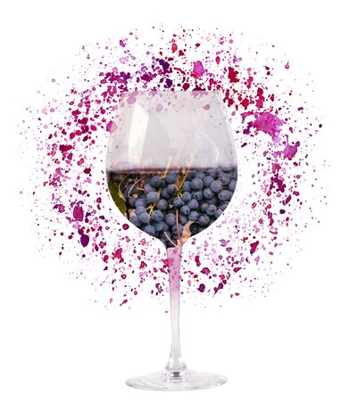 A photo of a glass of red wine, with a double exposure effect, collaged with vine grapes, and a watercolor texture. A creative illustration for a tasting or menu