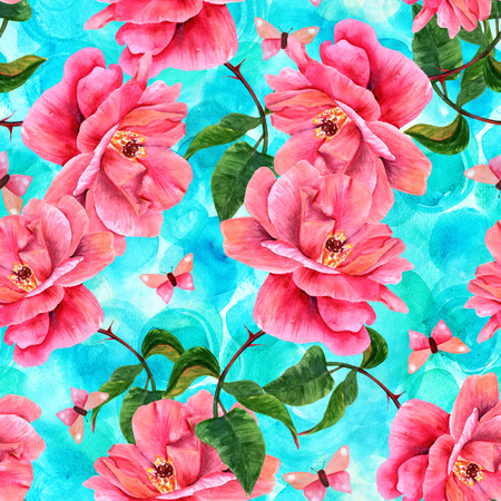 A seamless pattern with a watercolor drawing of a blooming pink rose and a butterfly, hand painted on a teal background in the style of vintage botanical art Stock Photo