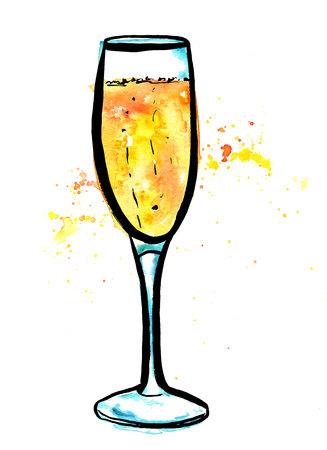 Un vector, pluma y tinta, y el dibujo de la acuarela de un vaso de flauta de vino espumoso, pintado a mano sobre fondo blanco