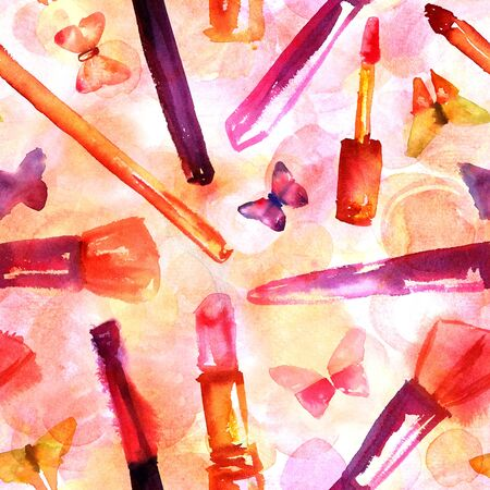 A seamless background pattern with freehand watercolor drawings of makeup brushes, lipstick, and gloss, and tender butterflies