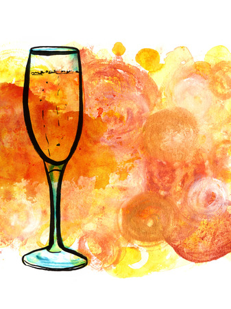 sparkling wine: A pen, ink and watercolor drawing of a flute glass of sparkling wine, hand painted on golden background with copyspace