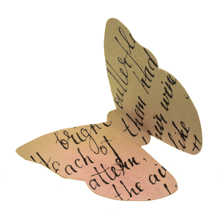 A photo of a paper butterfly, cut out of watercolor toned paper with handwritten text, isolated on white background. A decorative design element Stock Photo