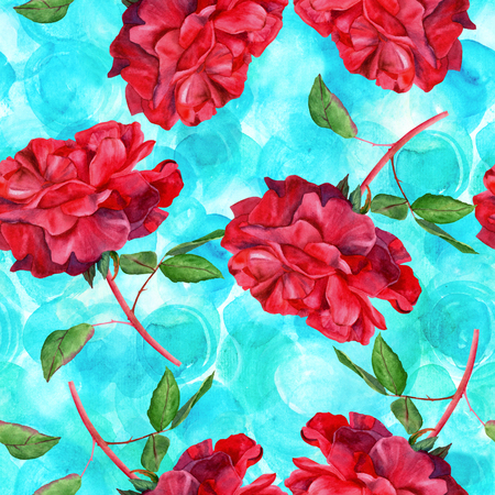 dusty: A seamless pattern with a watercolor drawing of a blooming red rose, hand painted on a teal blue background in the style of vintage botanical art Stock Photo