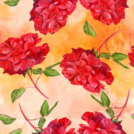 fragrance: A seamless pattern with a watercolor drawing of a blooming red rose, hand painted on faded old paper in the style of vintage botanical art