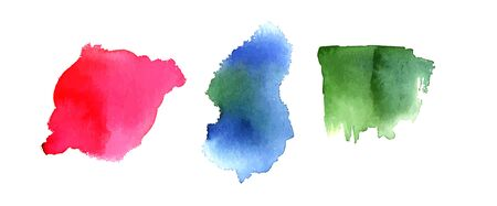 Abstract red, blue, and green watercolor stains on white background, scalable vector graphic