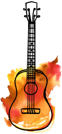 A vector and watercolor freehand drawing of a golden ukulele on white background