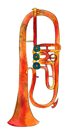 cornet: A freehand watercolor drawing of a trumpet on white background