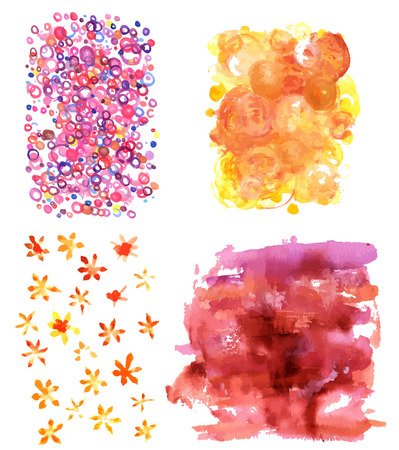 A set of vector watercolor textures with quirky hand drawn circles and brush strokes in various colours. Abstract backgrounds for design