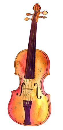 A watercolour and ink drawing of a violin, isolated on white background