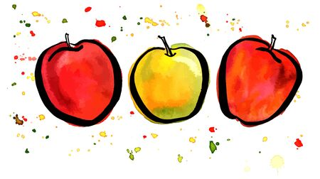 golden apple: Freehand, watercolor and ink drawing of apples
