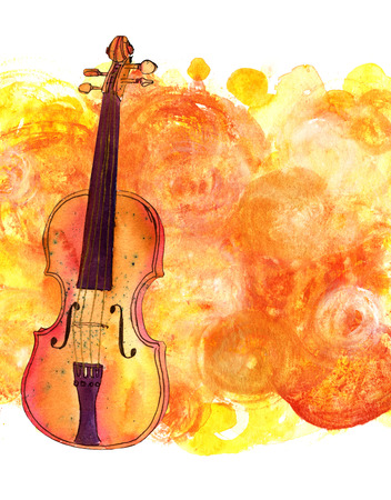 Watercolour drawing of violin on golden background 版權商用圖片