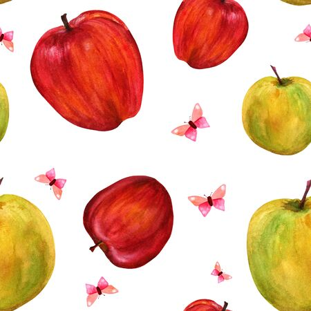 golden apple: Seamless pattern with watercolor apples and butterflies