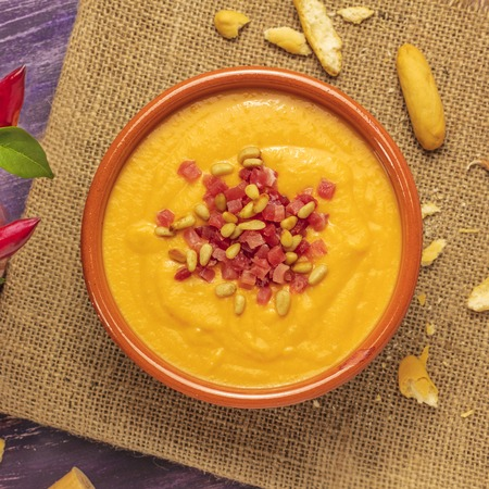 Salmorejo, traditional Spanish cold soup with bread