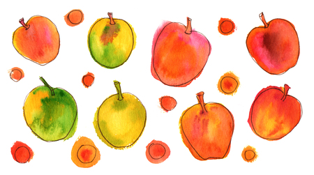 golden apple: Vibrant quirky watercolor and ink apples on white Stock Photo