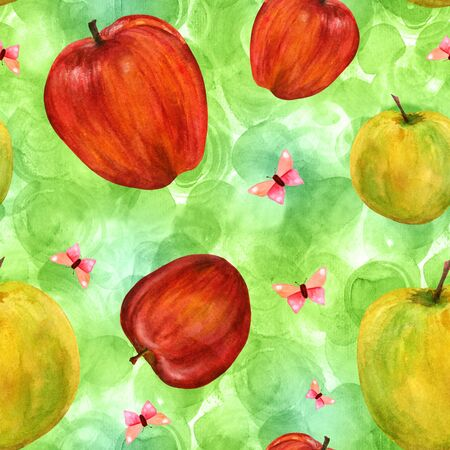 golden apple: Seamless pattern with watercolor apples and butterflies on green