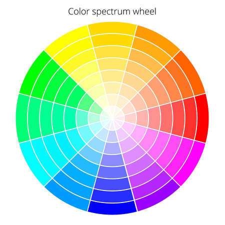 Vector color spectrum, RBG palette, on white background Illustration