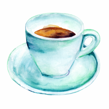 Watercolour drawing of coffee cup in teal, isolated Stock Photo